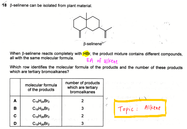2017 A Level H2 Chemistry Paper 1 Q18 question