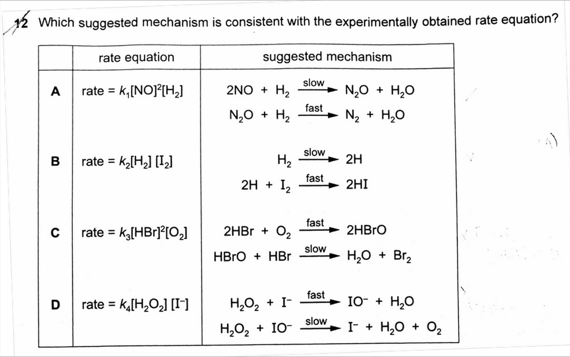 2017 H2 Chemistry Paper 1 Question 12 Question