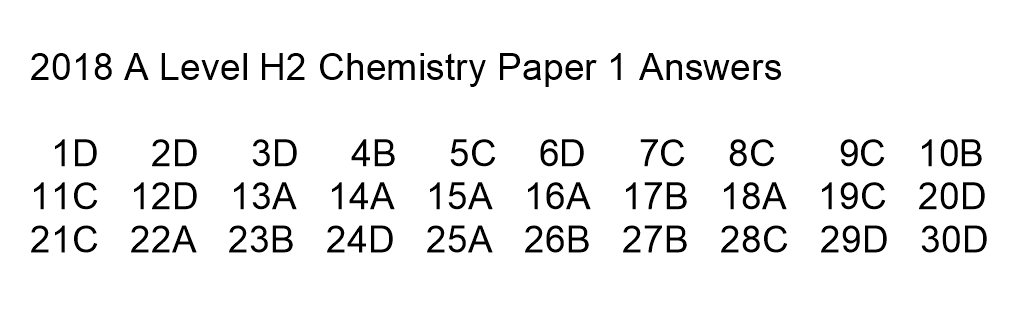 2018 H2 Chemistry Paper 1 Solution Videos