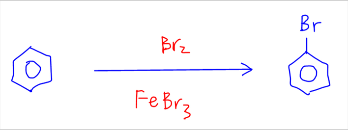 bromination of benzene to form bromobenzene