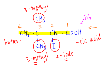 IUPAC Nomenclature compound 1 with working