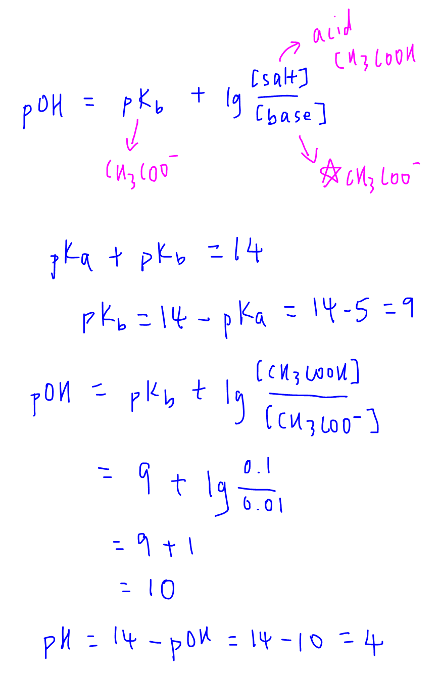 calculate pH of buffer solution use alkaline buffer equation to solve